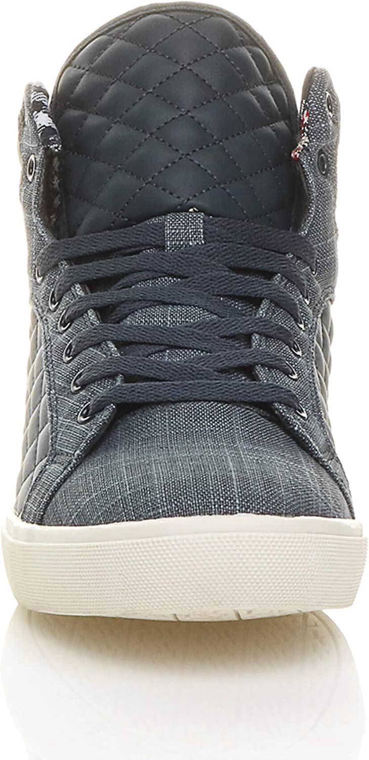 Ajvani Mens Flat lace up Quilted Casual hi high top Ankle Boots Trainers Sneakers Size.