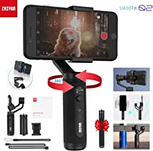 Zhiyun Smooth Q2 3-Axis Handheld Smartphone Gimbal Stabilizer for iPhone 11 Pro X XS Max, Samsung Galaxy S10 Huawei P30 with Time-lapse Vertigo Shot Object Tracking Panorama, Runtime 17h (with Kit)