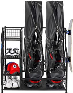 PLKOW Golf Bag Storage Garage Organizer, Fit for 2 Golf Bags and Golf Accessories, Extra Large Size Golf Bag Storage Stand and Golf Equipment Rack for Garage,Shed, Basement