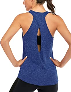 Fihapyli Women's Open Back Yoga Shirt Cross Back Workout Clothes Sleeveless Sports Gym Tank Tops