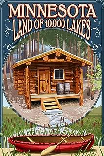 Minnesota - Cabin and Lake (9x12 Fine Art Print, Home Wall Decor Artwork Poster)