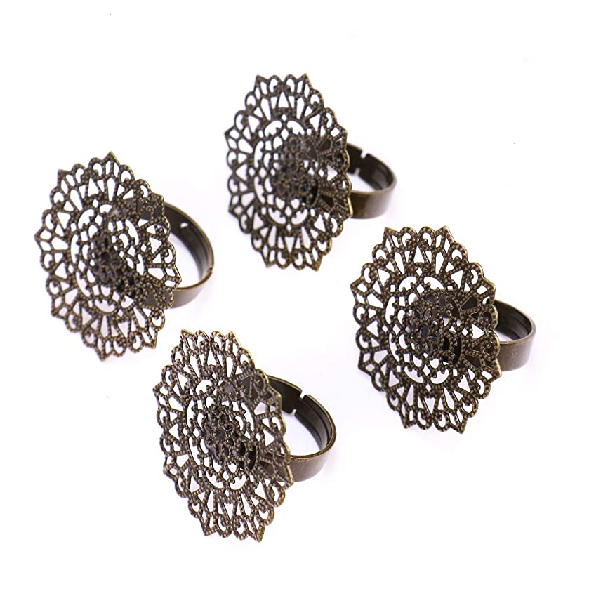 Monrocco 12 pcs Adjustable Filigree Ring Setting Blank Ring Bases Settings for Jewelry Making
