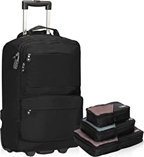 Hynes Eagle 20 Inch Rolling Backpack 35L Flight Approved Carry on Luggage Wheeled Travel Backpack Black with 3pcs Packing ...