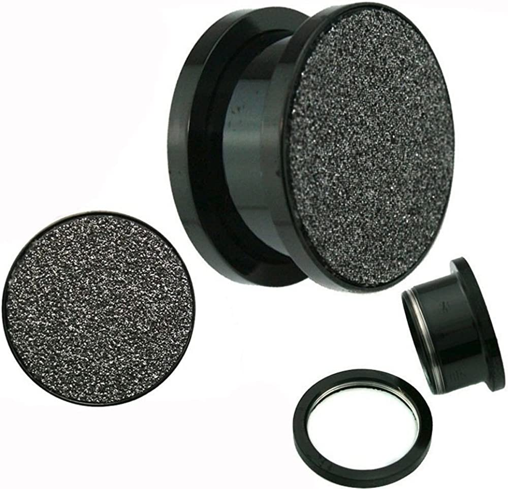 Jewelry Avalanche Sandpaper Top Texture Screw Fit Titanium Anodized Black Surgical Steel Ear Plugs