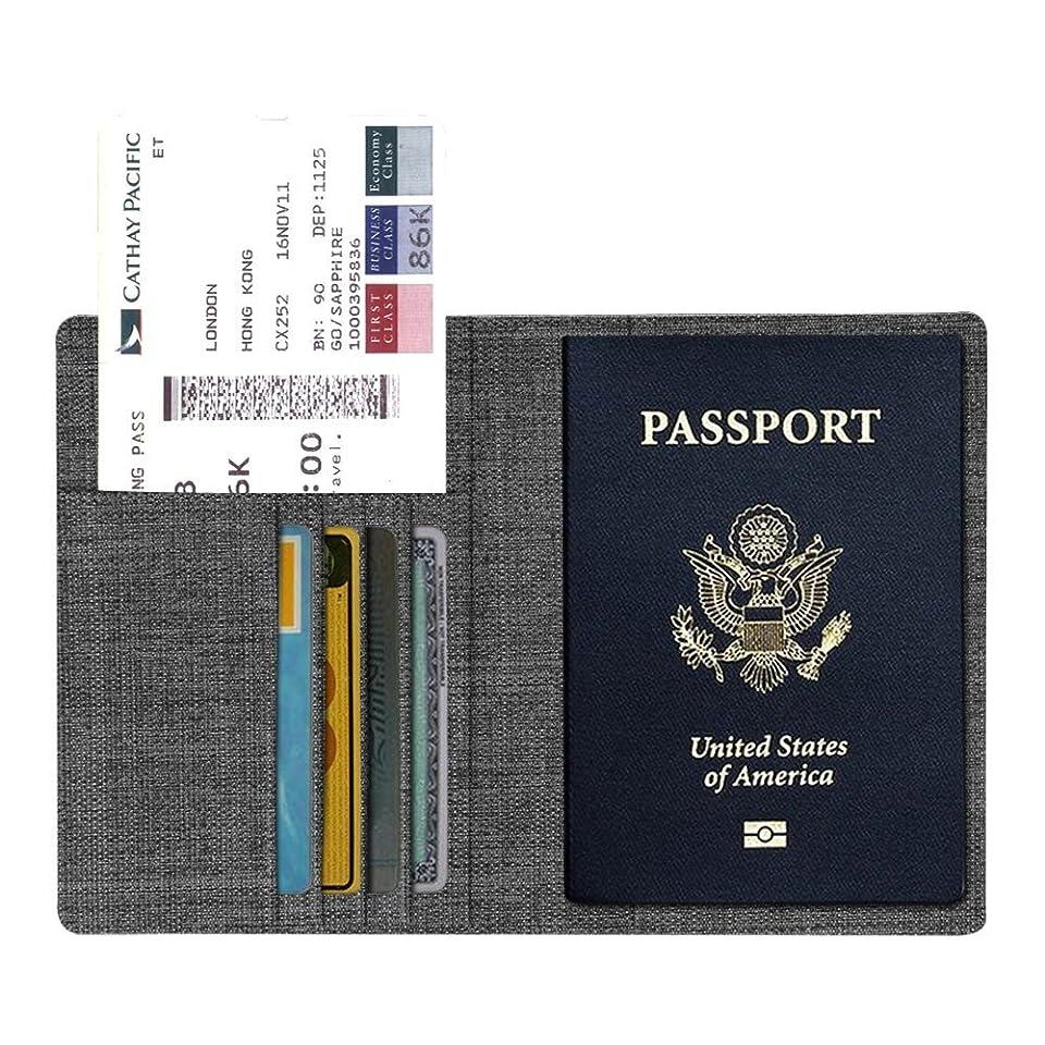 眠り当社行Fintie パスポートケース ホルダー トラベルウォレット スキミング防止 安全な海外旅行用 高級PUレザーパスポートカバー 多機能収納ポケット 名刺 クレジットカード 航空券 エアチケット (デニムチャコール/ブラウン)