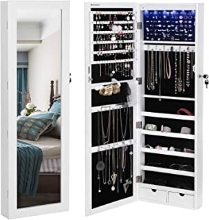SONGMICS 6 LEDs Jewelry Cabinet Lockable Wall Door Mounted Jewelry Armoire Organizer with Mirror 2 Drawers White UJJC93W
