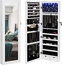 """SONGMICS 6 LEDs Cabinet Lockable 47.3"""" H Wall/Door Mounted Jewelry Armoire Organizer with Mirror, 2 Drawers, Pure White UJJC93W"""