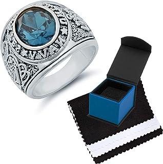 خاتم رجالي من The Bling Factory مطلي بالروديوم بشكل بيضوي وزركون أزرق بحري أمريكي - مقاس 8