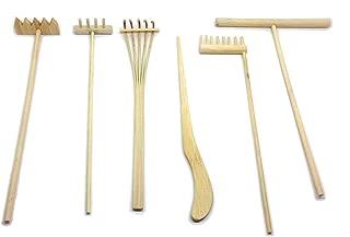 Mini Zen Garden Tool Rake Set, 6 Pieces, Rakes, Drawing Stylus, Sand Smoothing Push Rake