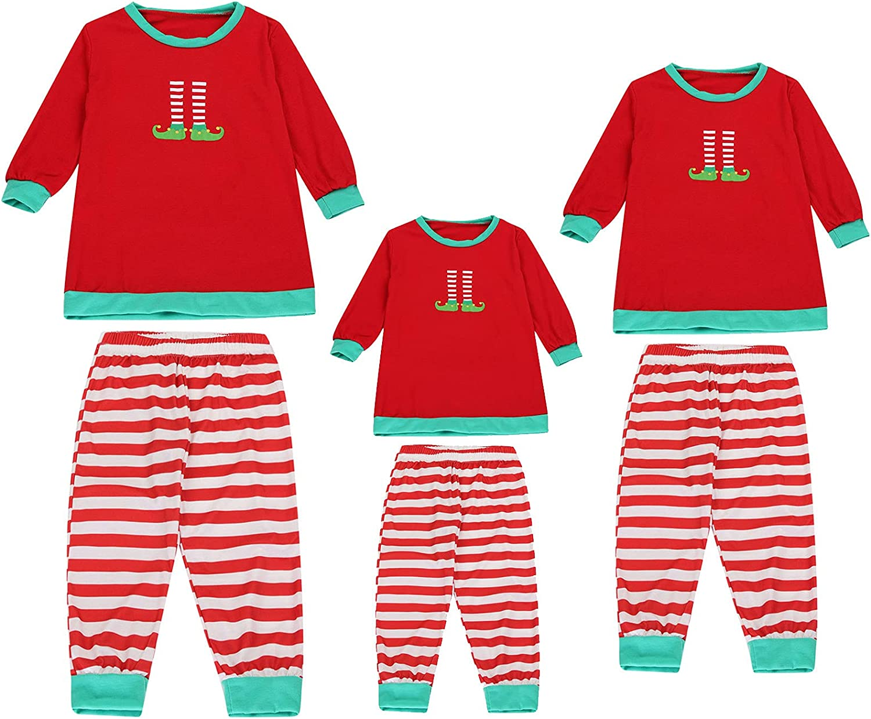 Matching Family Pajamas Sets Christmas Pjs Set Cute Print Long Sleeve Top + Pants Sleepwear Xmas Loungewear