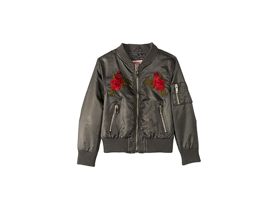 Urban Republic Kids Rosa Poly-Twill Bomber Jacket w/ Rose Patches (Little Kids/Big Kids) (Gunmetal) Girl