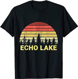 Echo Lake Maine Vacation Vintage Retro Forest Sunset Gift T-Shirt