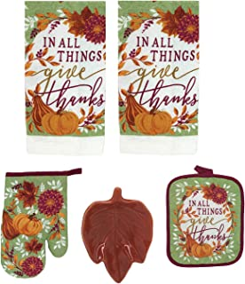 Harvest Autumn Thanksgiving Kitchen Linen 5-pc Set, Dish Towels Pot Holder,Oven Mitt Ceramic Leave (Color May Vary) Spoon Rest