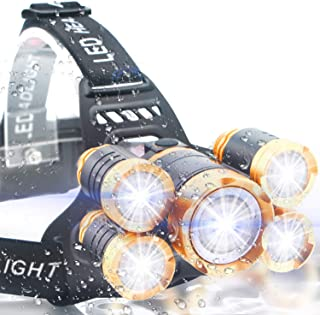 Soft Digits Headlamp, Ultra Bright 5LED Headlight, USB Rechargeable Head Lamp Flashlight, 4 Modes Waterproof Zoomable Work Light for Outdoors, Household
