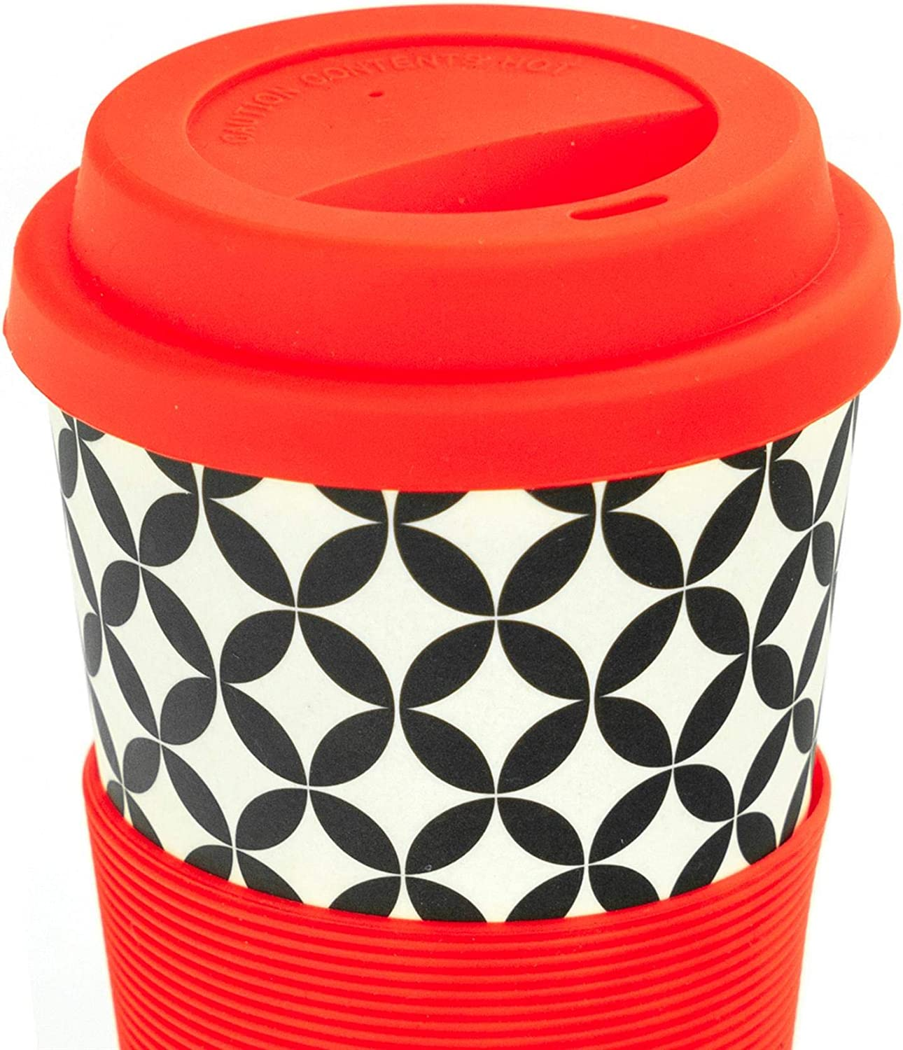 400ml Blue Aztec Leaf Rink Drink Bamboo Reusable Coffee Cup with Silicone Lid /& Sleeve