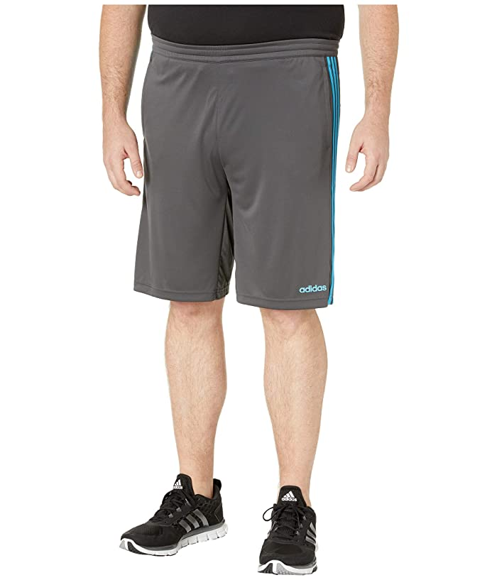adidas Big Tall D2M 3-Stripe Shorts (Dark Grey Heather/Solid Grey/Shock Cyan) Men