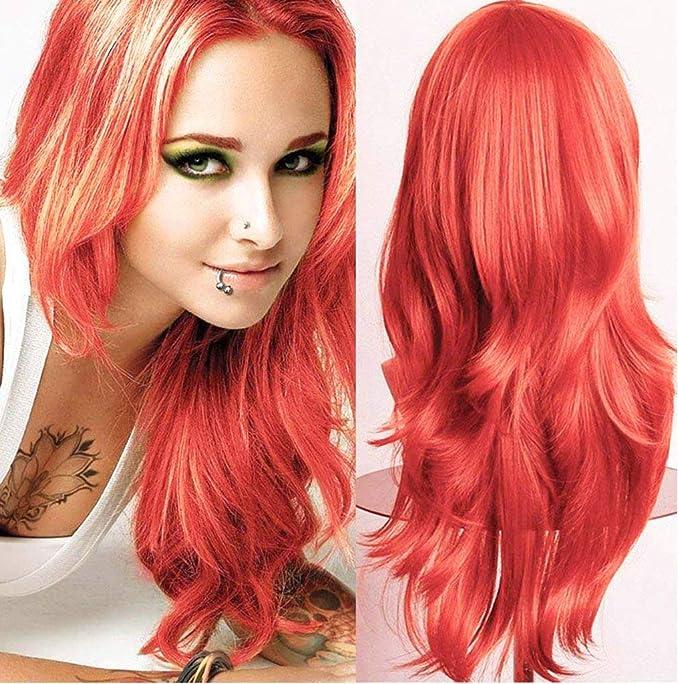 Silk-co Pelucas onduladas de capa naranja – Peluca de 58,4 cm de largo con flequillo sintético cosplay disfraz diario fiesta peluca para mujer disfraz ...