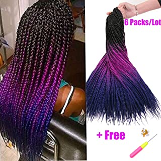 Geyashi Hair 24 Inch 6 Packs/Lot 100G/Pack 3 Tone Dark Roots Ombre 3S Senegalese Twist Box Braids Crochet Hair Extensions Jumbo Box Braids Brading Hair Extentions (1B/Light Purple/Plain Blue)
