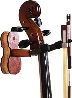 Violin Hanger with Bow Hanger - Hardwood Home & Studio Wall Mount Hanger for Violin/Viola (MA-5 Sapele)