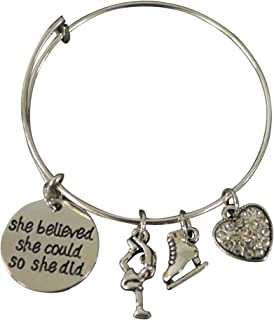 Infinity Collection Figure Skating Bracelet, Ice Skating Jewelry, She Believed She Could So She Did Skate Charm Bracelet - Perfect Figure Skating Gifts