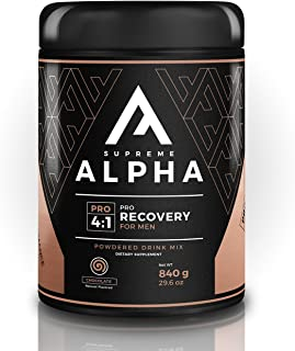 Supreme Alpha PRO, Post Workout Recovery Supplement for Men, Muscle Toner, with Protein Powder, BCAAs, Glutamine, Vitamin D, Calcium, Sugar Free, Keto Friendly, Improves Endurance, 10 Large Servings