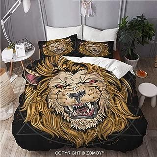 ZOMOY Duvet Cover Set, Lion Leo Vector, Decorative 3 Piece Bedding Set with 2 Pillow Shams