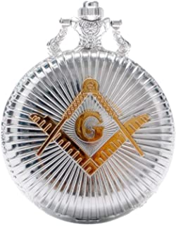 Engraved Freemasonry Masonic Quartz Pocket Watch With Chain