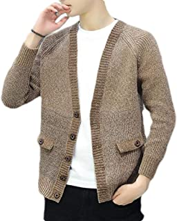 CRYYU Mens Knit Button Down Hipster Open Front Color Block Cardigan