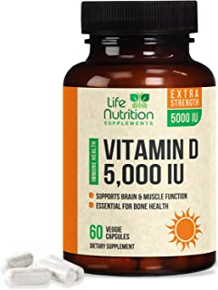 Vitamin D - Extra Strength Vitamin D3 5000 IU, 125mcg, Made in USA, Bone Supplement for Teeth and Immune Support for Men a...