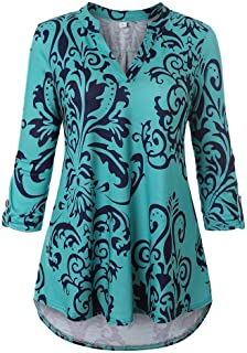 Women's Floral Printed Tunic Shirts 3/4 Sleeve V Neck Top Casual Blouse
