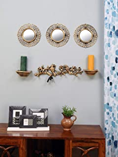 @home by Nilkamal Plastic Birds Wall Decor and Mirror Combo (86 cm x 10.5 cm x 53 cm, Gold, Set of 6)
