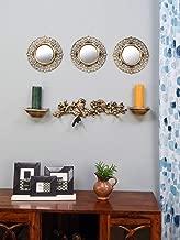 @home by Nilkamal Birds Wall Decor & Mirror Combo Set of 6, Gold