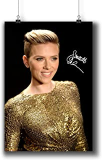 Scarlett Johansson Actress Movie Photo Poster Prints 249-009 Reprint Signed,Wall Art Decor for Dorm Bedroom Living Room (A4|8x12inch|21x29cm)