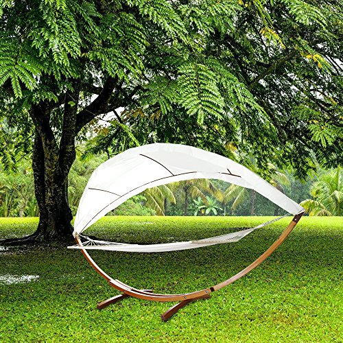 NYC Hengda® Für Garten, Terrasse und Haus 415cm Hängematte mit Gestell Hängemattengestell Hängematten Holz +Dach bis 200kg