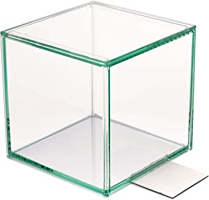 """Design Ideas Harlow Bookend, Decorative Clear Glass Display Cube and Terrarium, 4.5"""" Cube with Metal Base"""