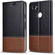 KEZiHOME Google Pixel 2 XL Case, Color Matching Genuine Leather Wallet Flip Case with Kickstand and Multiple Card Slots Protective Cover for Google Pixel 2 XL 6.0