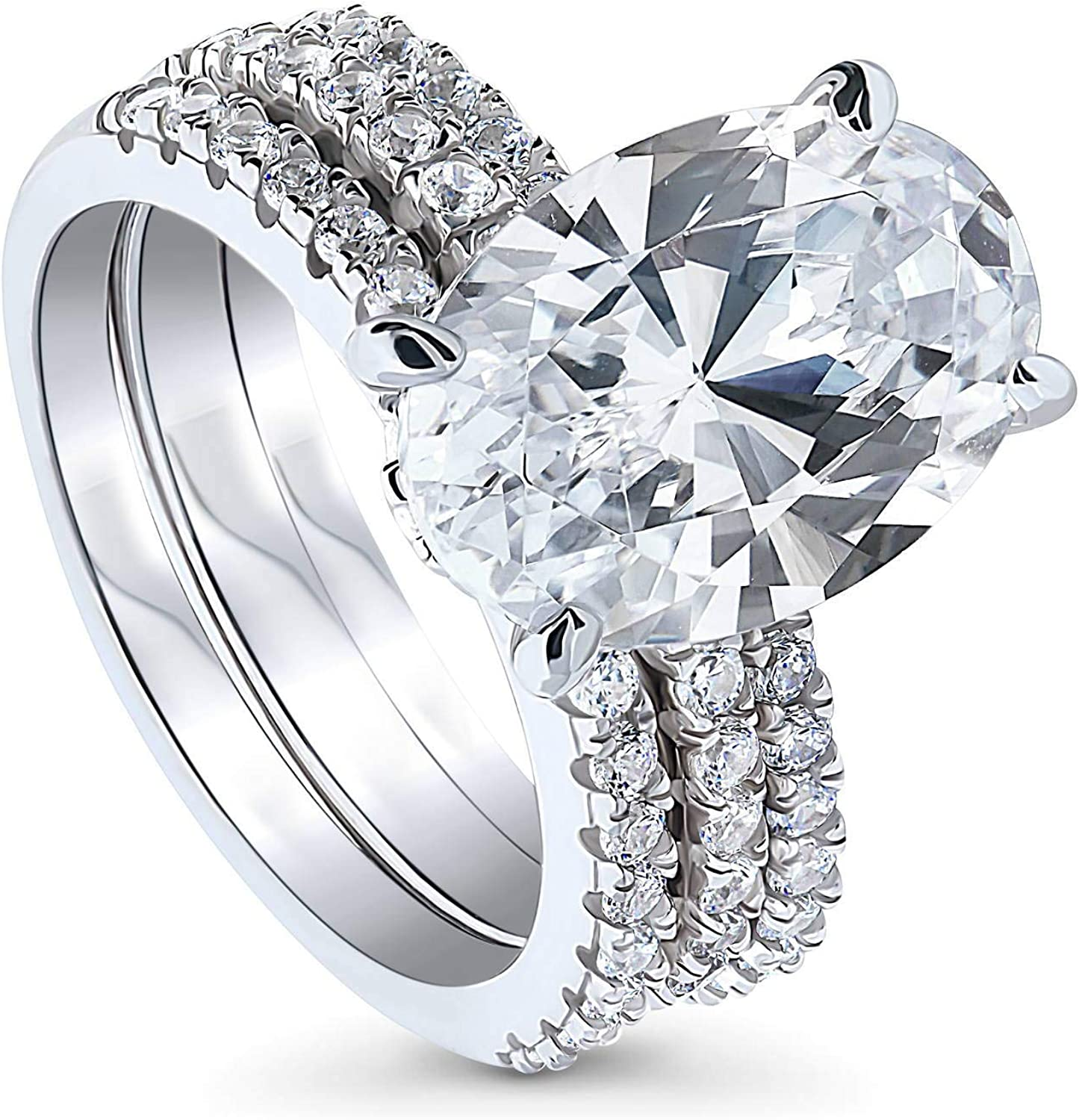 BERRICLE Seasonal Wrap Introduction Rhodium Plated Sterling Silver Cut Max 77% OFF Cubic Zirconia Oval