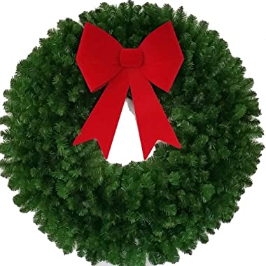 4 Foot Christmas Wreath with Large Red Bow - 48 inch - Indoor - Outdoor - Commercial Grade