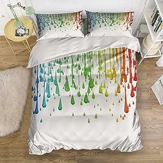 Libaoge 4 Piece Bed Sheets Set, Special Design Paint Splatter Art, 1 Flat Sheet 1 Duvet Cover and 2 Pillow Cases