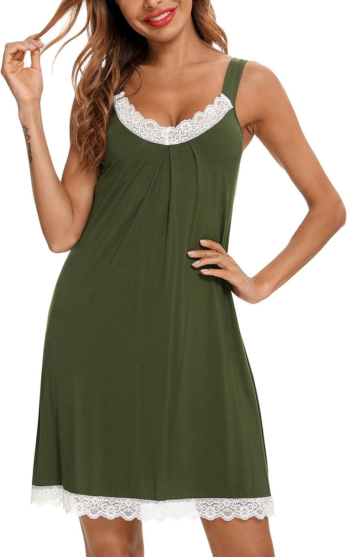 Senert Womens Chemise Sleepwear Full Slips Lace Nightgowns V Neck Pajama Dress Sexy Lingerie S-XXL