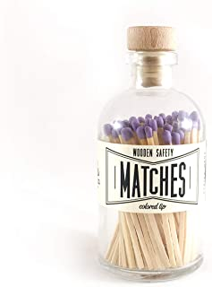 Lavender Tip Colored Matches. Match Sticks Decorative Glass Bottle. Farmhouse Home Decor. Unique Gifts for her. Best Seller Most Popular Item