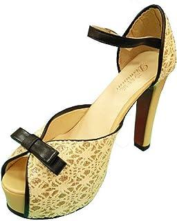 Gaorui Women's Summer Lace Peep Toe Ankle Strappy Stiletto Shoes High Heel Party Platform Pump Sandal