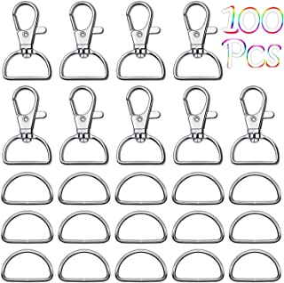 Purse Hardware, Paxcoo 100pcs Swivel Snap Hooks and D Rings for Purses, Keychain, Lanyard and Handbags (1 Inch Inside Width)