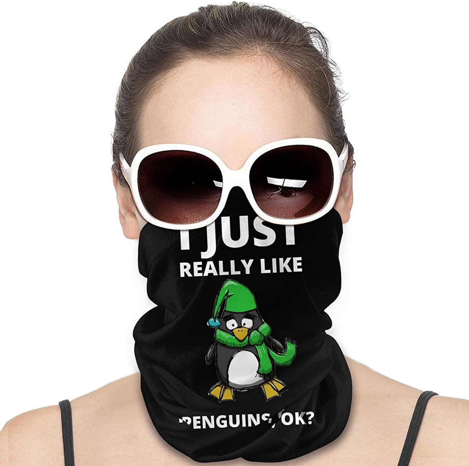 I JUST REALLY LIKE PENGUINS OK Round Neck Gaiter Bandnas Face Cover Uv Protection Prevent bask in Ice Scarf Headbands Perfect for Motorcycle Cycling Running Festival Raves Outdoors