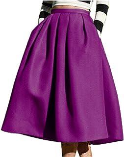 797a0dd587a FACE N FACE Women s High Waisted A Line Street Skirt Skater Pleated Full  Midi Skirt