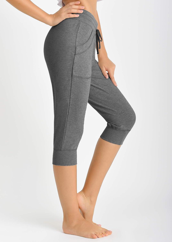 Latuza Women's Cotton Sweatpants Jersey Capri Pants with Pockets