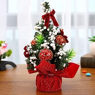 人工トウヒミニクリスマスツリー、松ぼっくり、リボン、ボール飾り付きのミニデスクトップデコレーションツリー、ご自宅やオフィスに最適