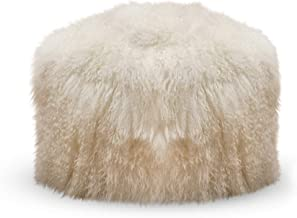 SARO LIFESTYLE Real Mongolian 100% Wool Lamb Fur Pouf Ottoman, 18 x 18, Ivory