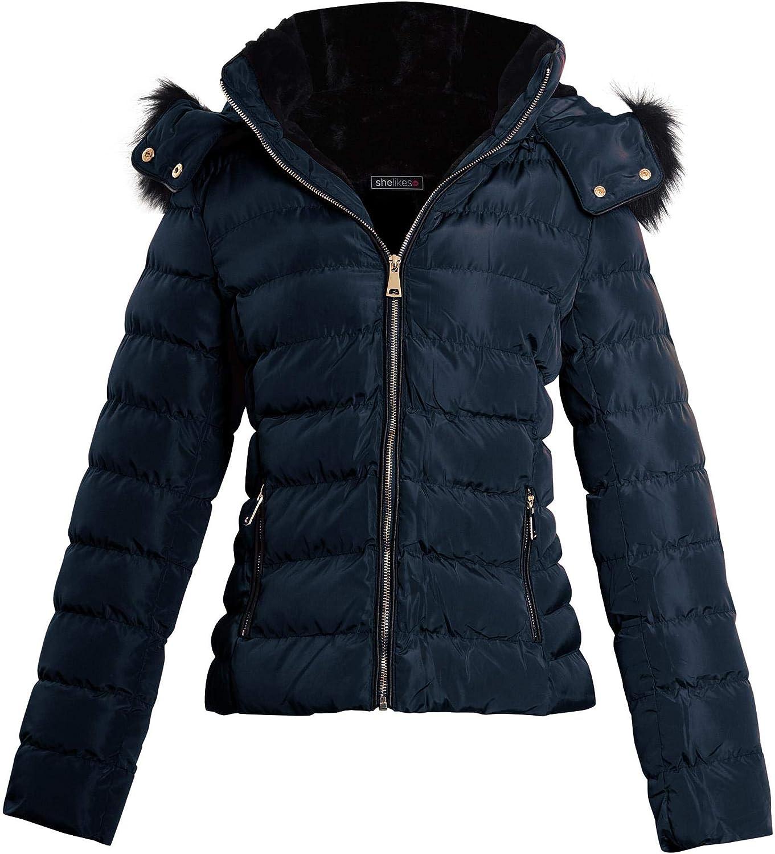 shelikes Womens Ladies Faux Fur Hooded Zip Up Winter Jacket Coat Size[Navy, Large (UK 12)]