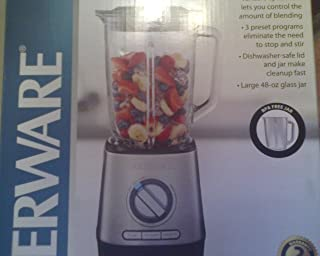 FARBERWARE HIGH PERFORMANCE BLENDER WITH LARGE 48-OZ GLASS JAR . 3 PRESET PROGRAMS. DISHWASHER SAFE LID AND JAR . VARIABLE SPEED DAIL LETS YOUR CONTROL THE BLENDING ( BPA FREE GLASS JAR)